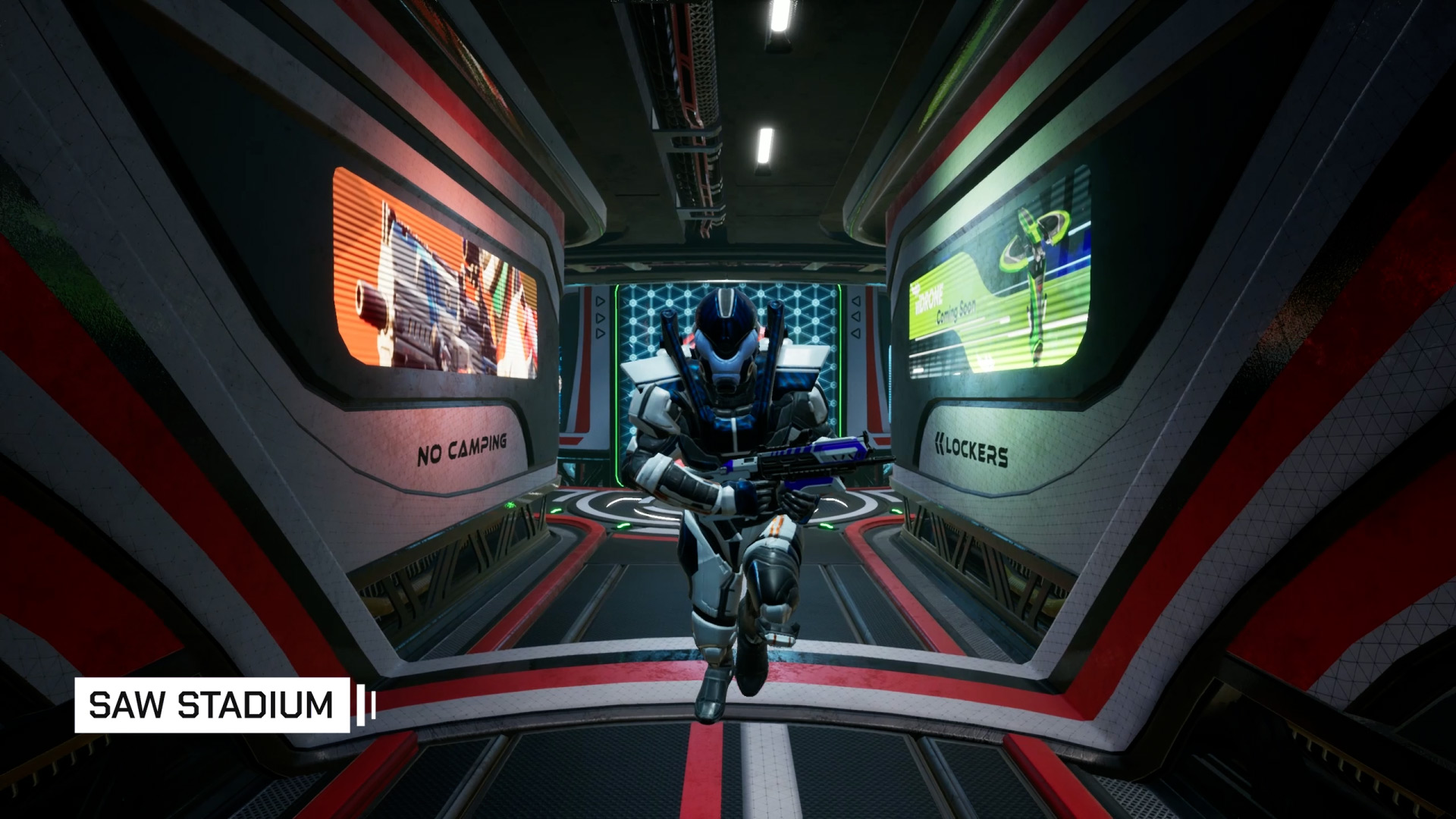 The locker room in SAW Arena in Splitgate Arena Warfare
