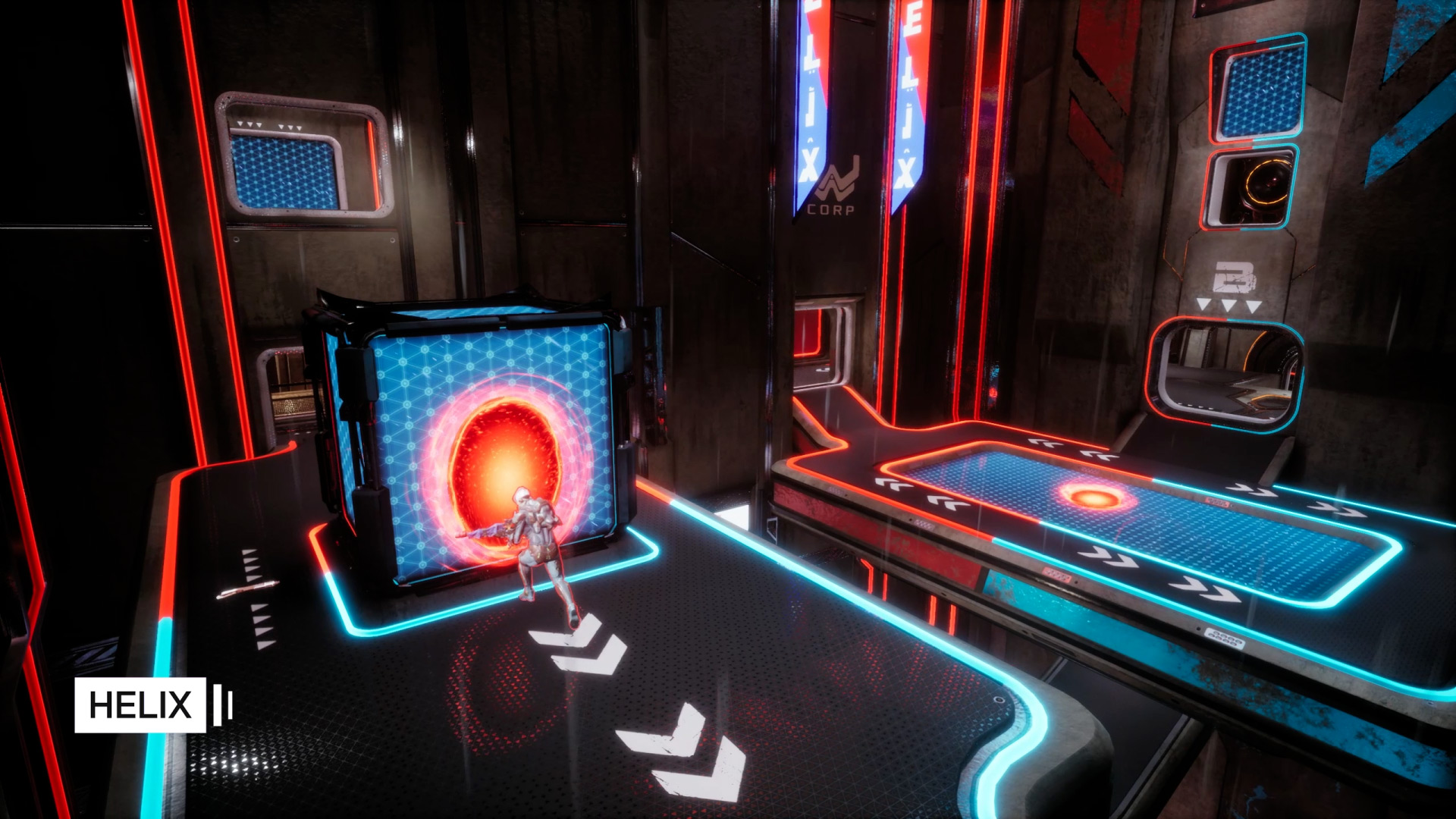 Using portals for positioning in Helix in Splitgate Arena Warfare