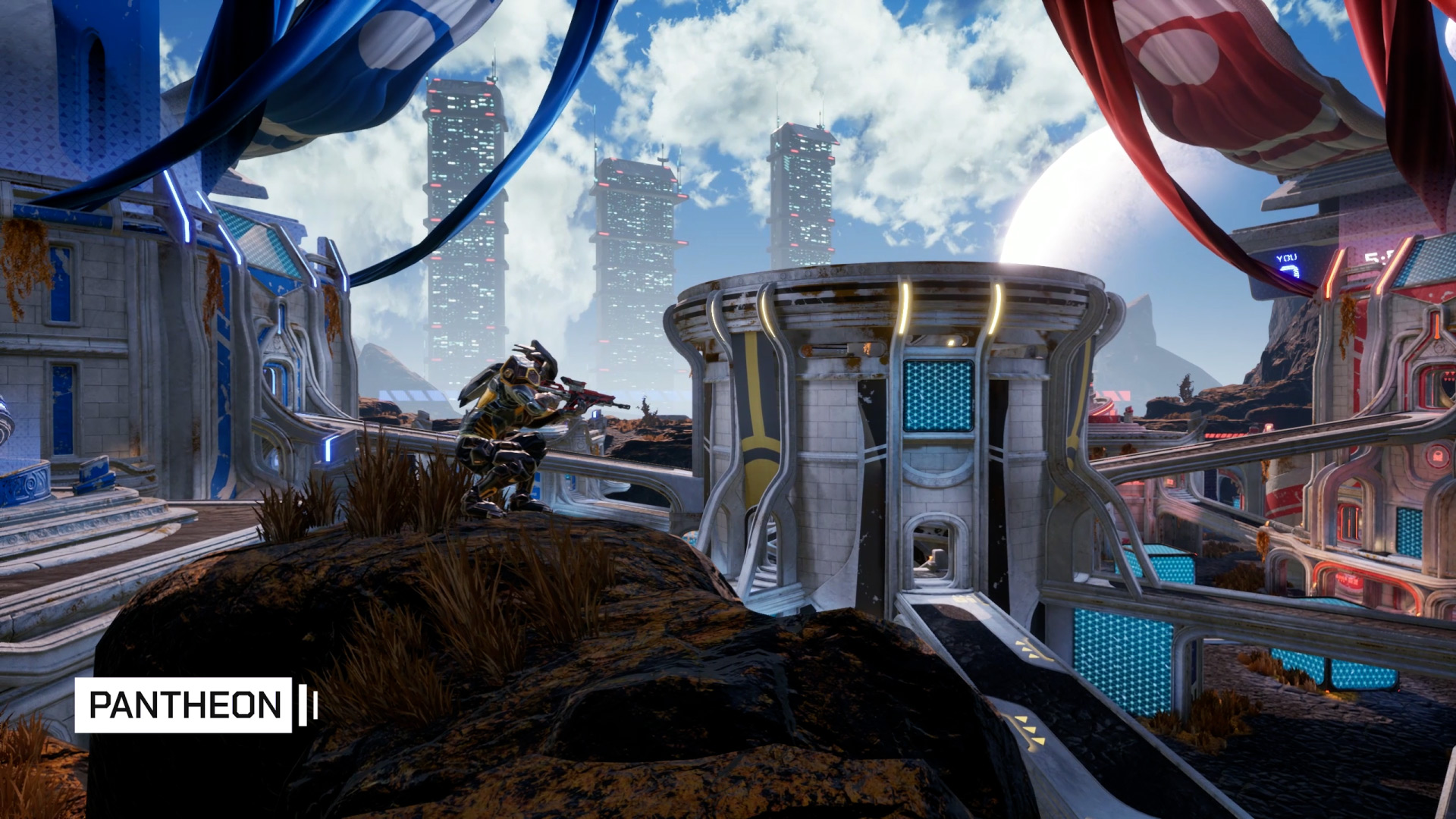 Using the sniper rifle in the game Splitgate Arena Warfare